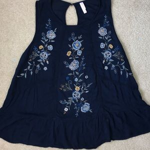 Navy Blue Shirt With Flowers